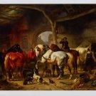 Wouterus Verschuur Tending the Horses Art Ad Advertisement