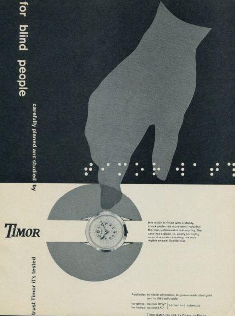 1956 Timor Watch Company Vintage 1956 Swiss Ad Suisse Advert La Chaux-de-Fonds Switzerland