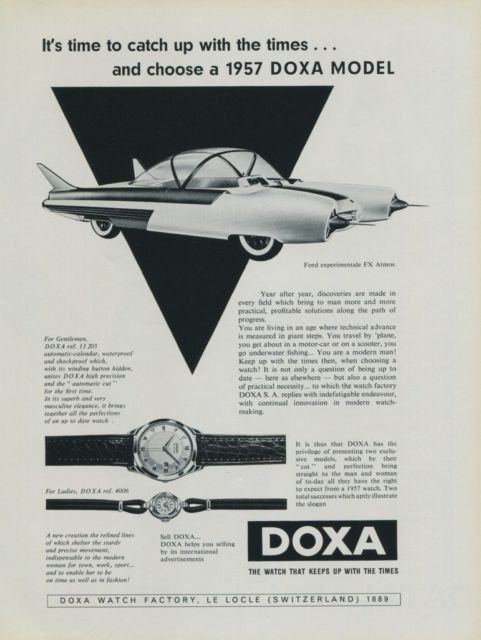 1956 Doxa Watch Company Ford FX Atmos Vintage 1956 Swiss Ad Suisse Advert