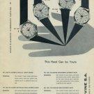 Cervine Watch Company Vintage 1956 Swiss Ad La Chaux-de-Fonds Switzerland Suisse Advert