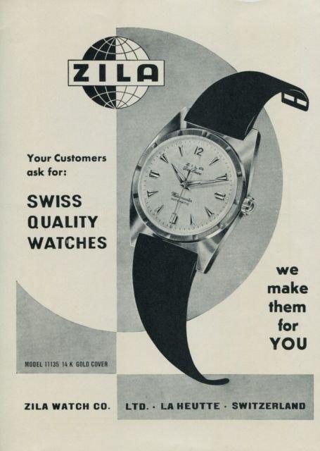 1956 Zila Watch Company La Heutte Switzerland Vintage 1956 Swiss Ad Suisse Advert