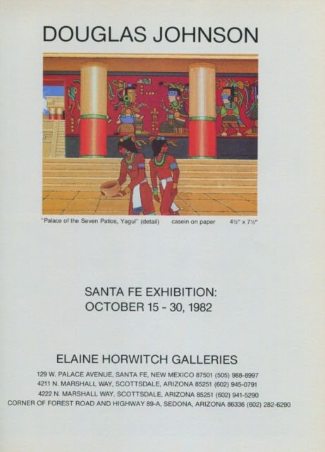 Douglas Johnson Vintage 1982 Art Exhibition Ad Palace of the Seven Patios Yagul