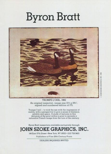 Byron Bratt Vintage 1982 Art Ad Magazine Advert Trompe L'Oeil