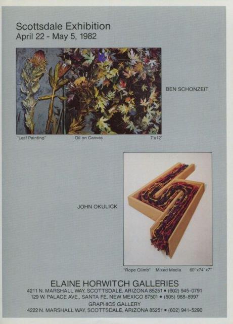 Ben Schonzeit John Okulick Vintage 1982 Art Exhibition Ad Elaine Horwitch Galleries