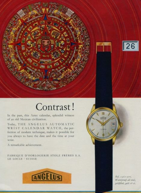 Angelus Watch Company Stolz Freres Vintage 1956 Swiss Ad Suisse Advert Horology