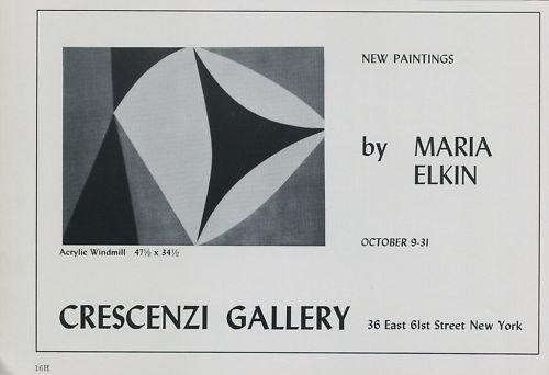 Maria Elkin Vintage 1969 Art Exhibition Ad Advert Crescenzi Gallery, NY
