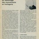 1965 La Mecanisation du Remontage des Mouvements en Horlogerie 1965 Swiss Magazine Article