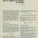 1965 Un Argument Pour le Vendeur de Montres La Precision by L. Defossez 1965 Swiss Magazine Article