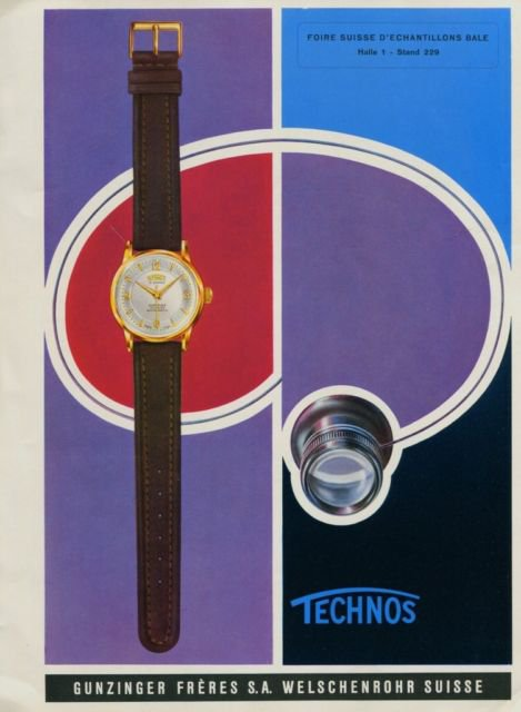 1956 Technos Watch Company Gunzinger Freres S.A. Vintage 1956 Swiss Ad Suisse Advert Horology