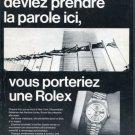 1969 Rolex Watch Company Geneva Switzerland Vintage 1969 Swiss Ad Suisse Advert