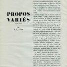 1946 Propos Varies by R. Lavest Vintage 1946 Swiss Magazine Article Horology Suisse Horlogerie
