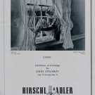 1969 John Chumley Cathy Vintage 1969 Art Exhibition Ad Advert Hirschl & Adler Galleries, NY