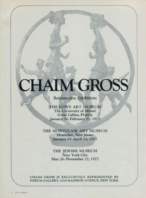 Chaim Gross Vintage 1977 Retrospctive Art Exhibition Ad