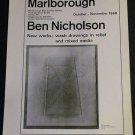 Ben Nicholson Vintage 1968 Art Exhibition Ad Marlborough Gallery, London Advert