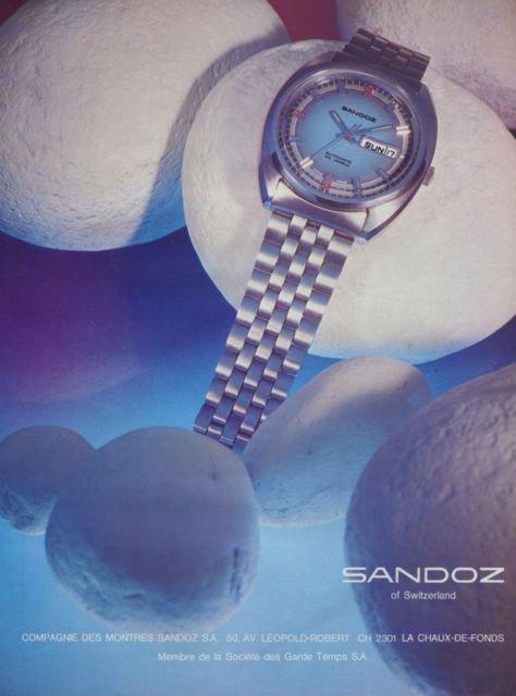 1972 Sandoz Watch Company Switzerland Vintage 1972 Swiss Ad Suisse Advert Horology