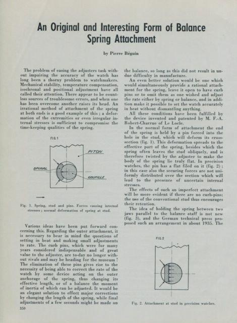 1950 Balance Spring Attachment Robert-Charrue by Pierre Beguin 1950 Swiss Magazine Article Horology
