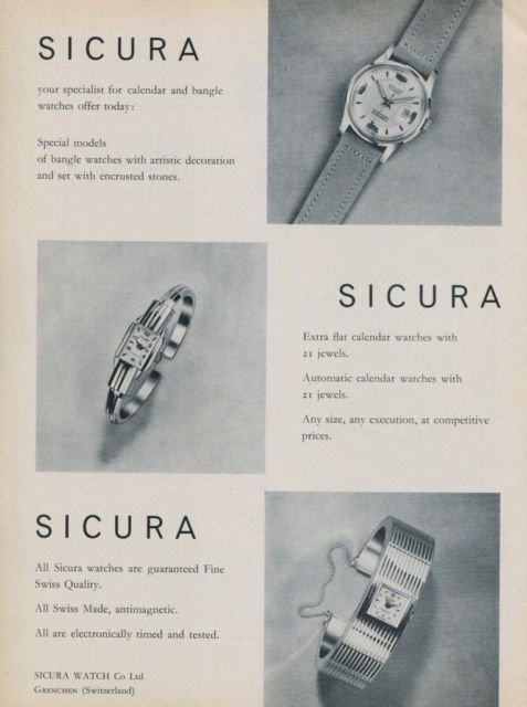 1959 Sicura Watch Company Grenchen Switzerland Vintage 1959 Swiss Ad Suisse Advert