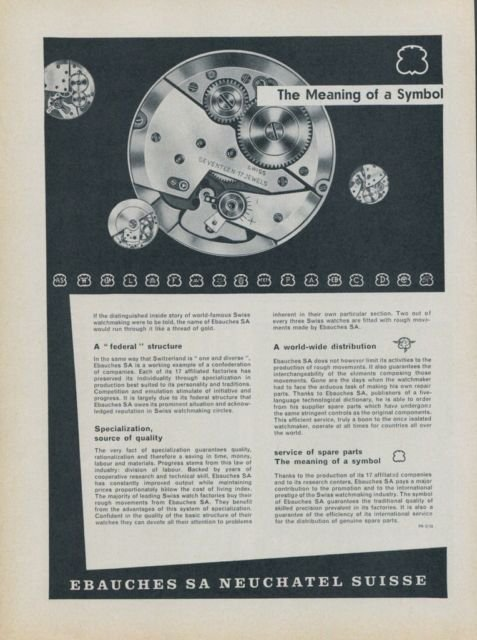 Ebauches S.A. Company Neuchatel Switzerland 1958 Swiss Ad Suisse Advert Horology