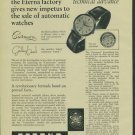 Eterna Watch Company Vintage 1957 Swiss Ad Suisse Advert Grenchen Switzerland