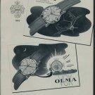 1957 Olma Watch Company Switzerland Vintage 1957 Swiss Ad Suisse Advert Horology