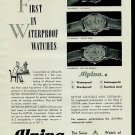 Alpina Watch Company 1950 Swiss Ad Bienne Suisse Switzerland