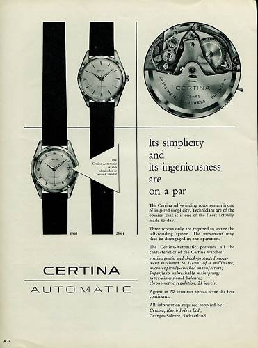 Certina Watch Company Switzerland Vintage 1956 Swiss Ad Suisse Advert