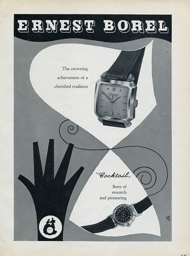 1955 Ernest Borel Watch Company Switzerland Vintage 1955 Swiss Ad Suisse Advert Horology