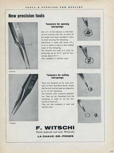 1955 F. Witschi Company Watch Tools Supplier Switzerland Vintage 1955 Swiss Ad Suisse Advert