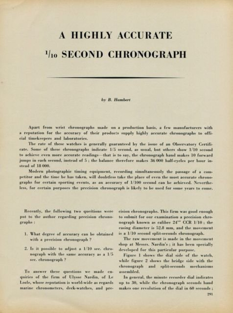 A Highly Accurate 1/10 Second Chronograph 1953 Swiss Article Horology Horlogerie