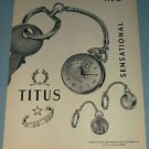 1954 Titus Watch Company Paul Ditisheim Switzerland Vintage 1954 Swiss Ad Suisse Advert