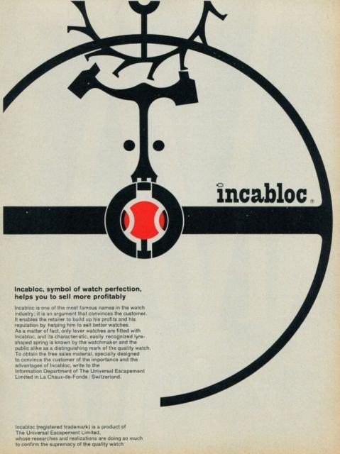 1959 Universal Escapement Company Incabloc Advert Vintage 1959 Swiss Ad Suisse Advert Horlogerie