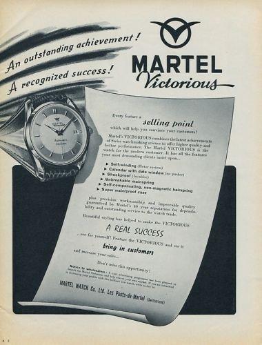 Martel Watch Company Ponts-de-Martel Switzerland 1956 Swiss Ad Suisse Advert Horlogerie