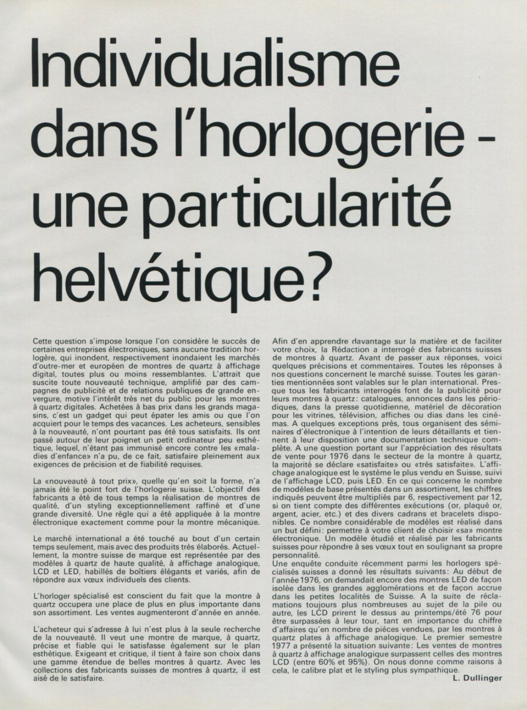 1977 Individualisme dans l'Horlogerie une Particularite 1977 Swiss Magazine Article