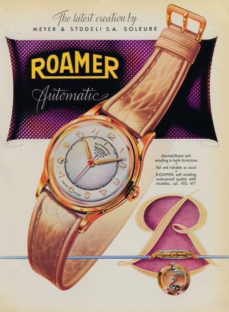 1951 Roamer Watch Company Switzerland Meyer & Studeli S.A. Vintage 1951 Swiss Ad Suisse Advert