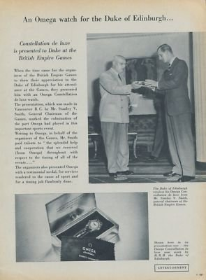 1954 Omega Watch Company Duke of Edinburgh Vintage 1954 Swiss Ad Suisse Advert Horology