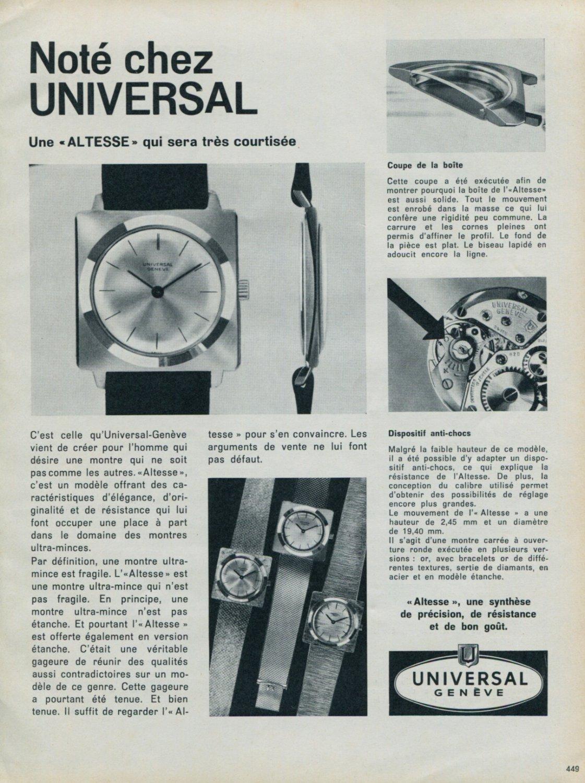 1963 Universal Geneve Watch Company Switzerland Vintage 1963 Swiss Ad Suisse Advert