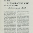 1955 Rolex Obtient 250000e Bulletin Marche Officiel 1955 Swiss Magazine Article