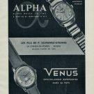 1955 Alpha Watch Company Venus Watch Co Fils P Schwarz-Etienne 1955 Swiss Ad Suisse Advert