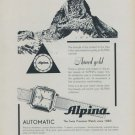 Alpina Watch Company Vintage 1954 Swiss Ad Bienne Switzerland Suisse Advert
