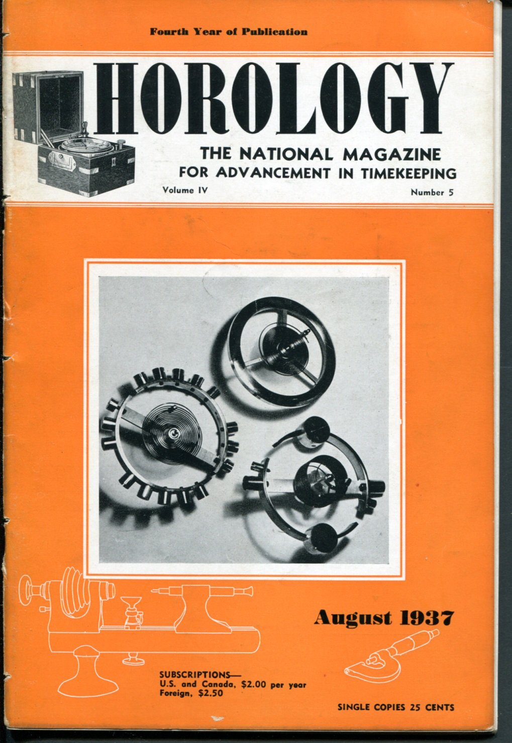 Horology Magazine August 1937 Oiling a Watch +  The Rudd Free Pendulum