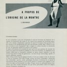 1956 A Propos de l'Origine de La Montre by L. Defossez 1956 Swiss Magazine Article Horology