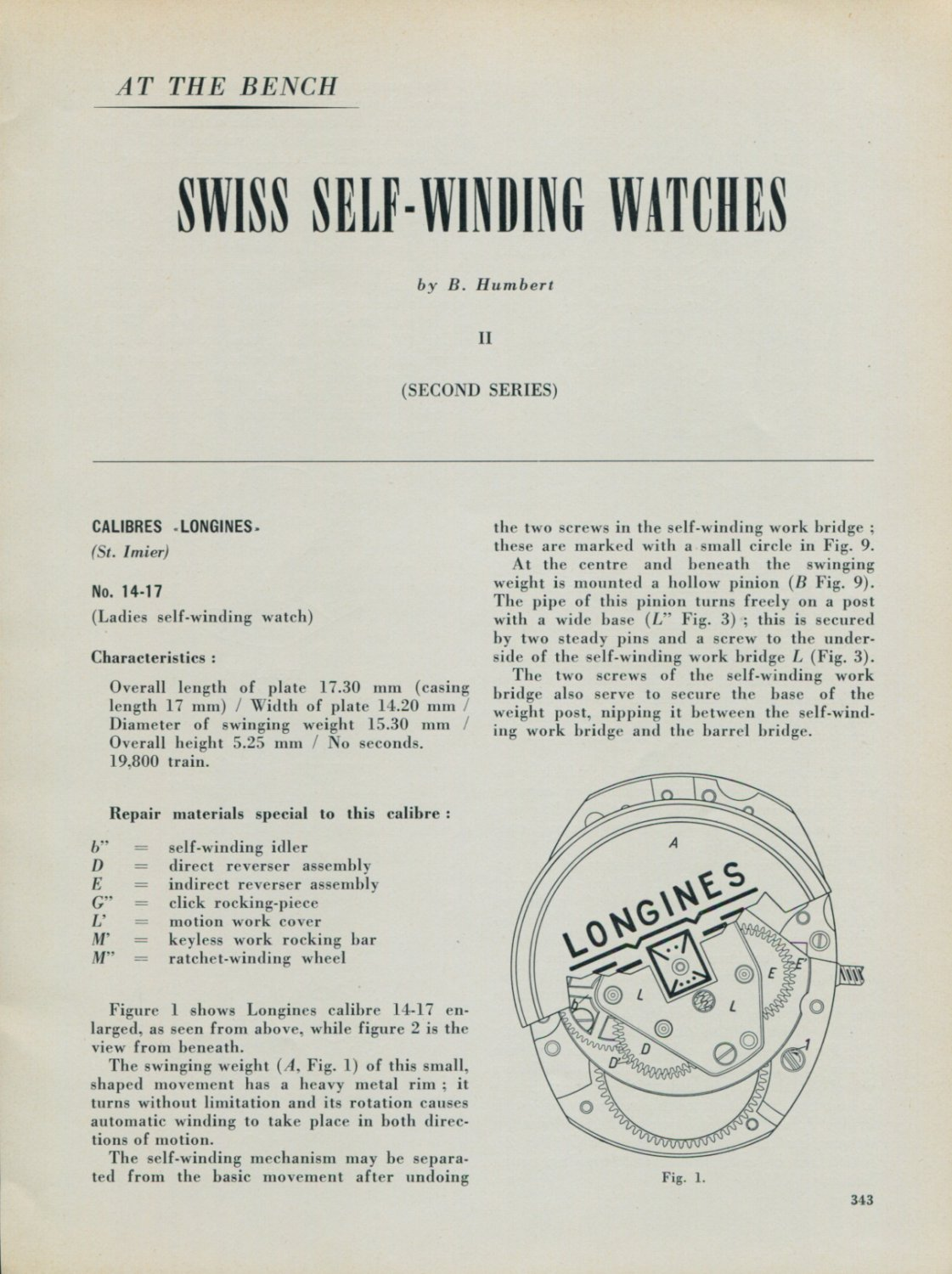 1957 Longines Watch Company #14-17 Assembly Info Diagrams 1957 Swiss Magazine Article