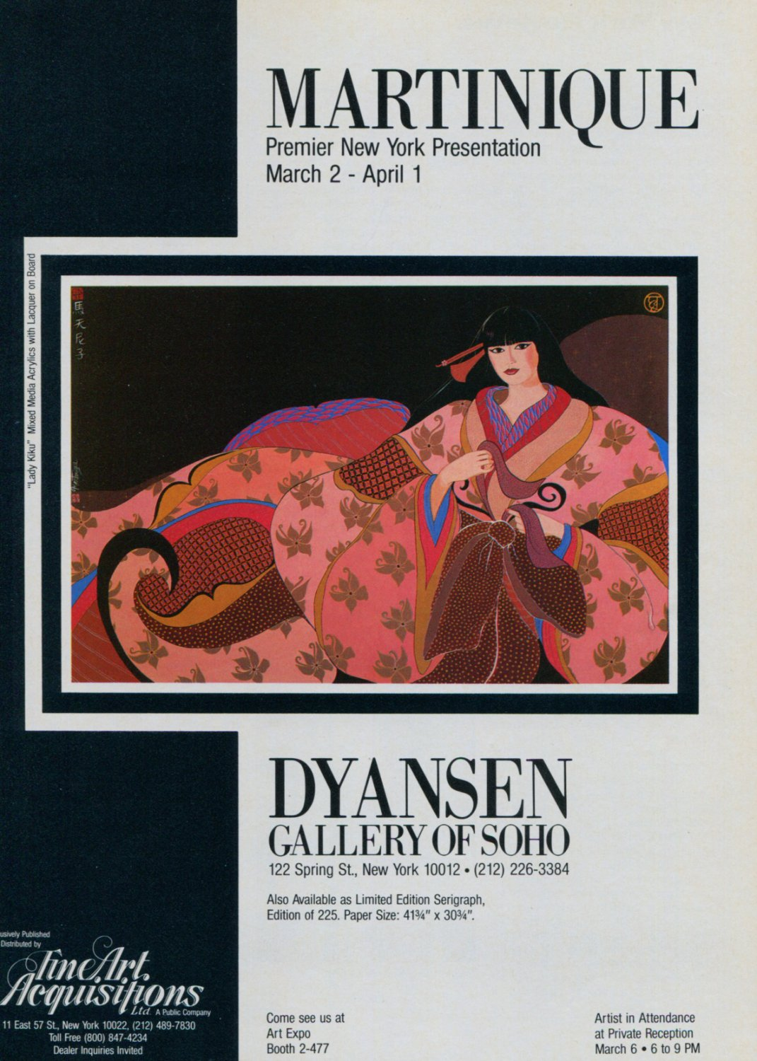Martinique Vintage 1984 Art Exhibition Ad Dyansen Gallery Soho Lady Kiku Advert
