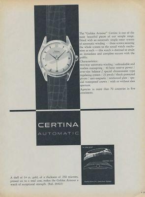 Certina Watch Company Switzerland Vintage 1954 Swiss Ad Suisse Advert