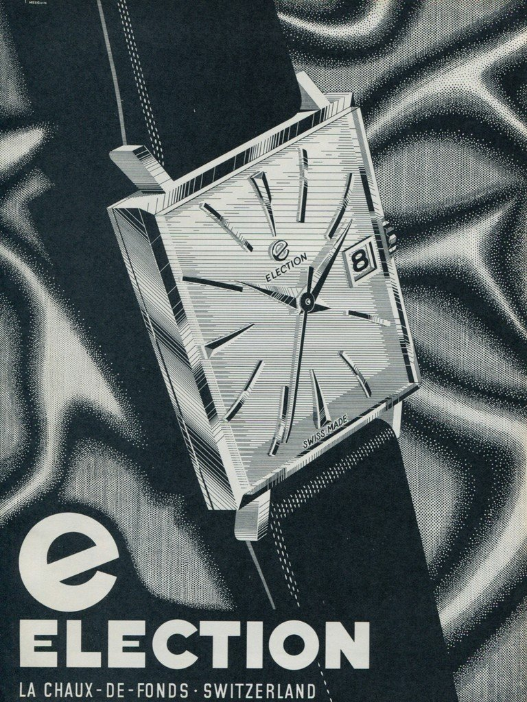 Election Watch Company Switzerland Vintage 1964 Swiss Ad Suisse Advert Horology Horlogerie