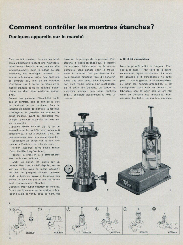 1968 Comment Controler Les Montres Etanches? Vintage 1968 Swiss Magazine Article