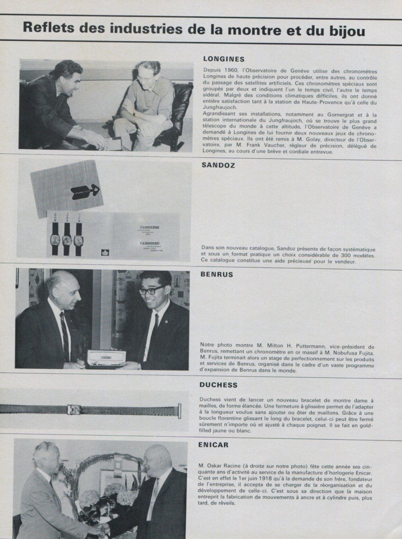 1968 Longines Watch Company Enicar Ulysse Nardin 1968 Swiss Magazine Clipping