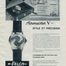 1964 Felca Watch Company Switzerland Airmaster V Vintage 1964 Swiss Ad Suisse Advert