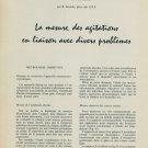 1959 La Mesure des Agitations en Liaison avec Divers Problemes Swiss Magazine Article Horology