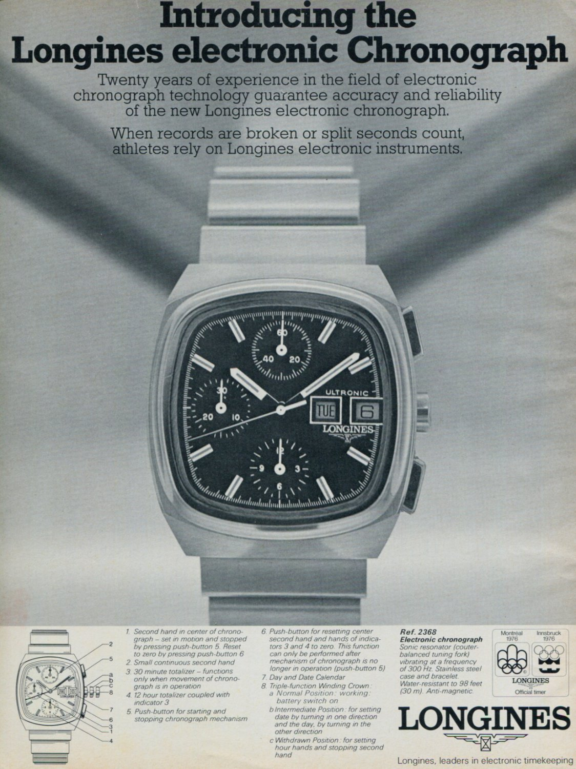 1976 Longines Watch Company Vintage 1976 Swiss Ad Suisse Advert Chronograph Ad Switzerland